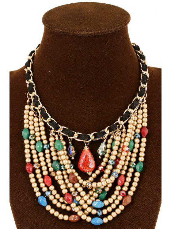 affordable Stylish Multi-Layered Bead Necklace - COLORMIX