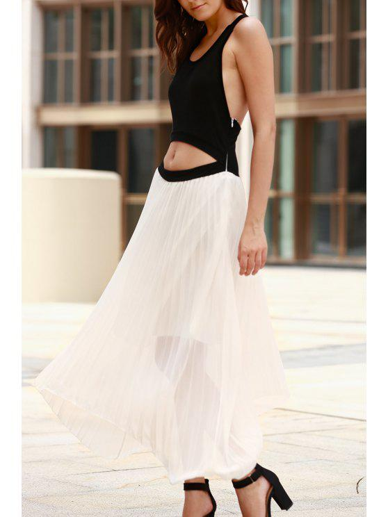 latest Cut Out Two Tone Maxi Dress - WHITE AND BLACK XL