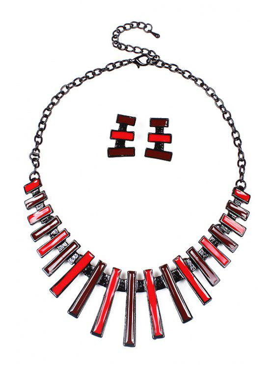 unique Rectangle Decorated Necklace and Earrings - RED
