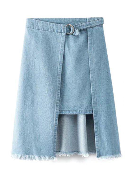 تنورة الدانيم حاشية غير متماثلة مهترئ - أزرق L