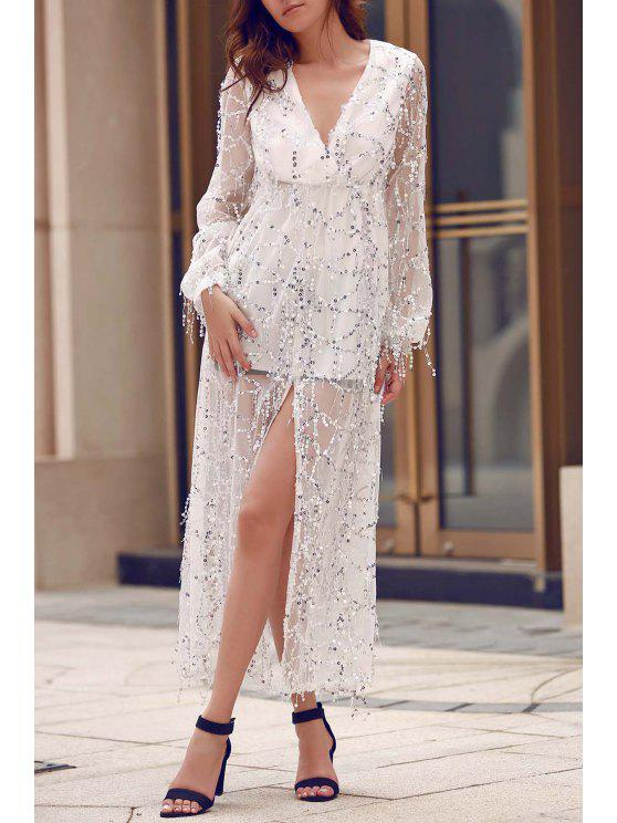 online High Slit Plunging Neck Long Sleeve Sequins Dress - WHITE XL