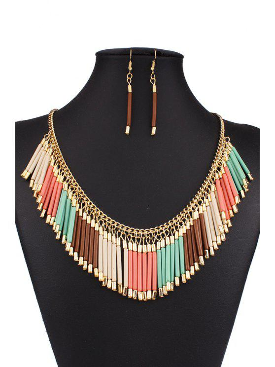 latest Bohemia Alloy Tassel Necklace and Earrings - COLORMIX