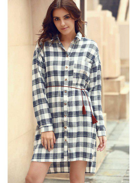 Plaid Shirt-Kragen Langarm-Shirt-Kleid - COLORMIX  L
