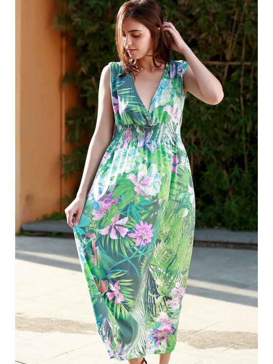 Impresión floral de hundimiento sin mangas de cuello vestido maxi - Verde L