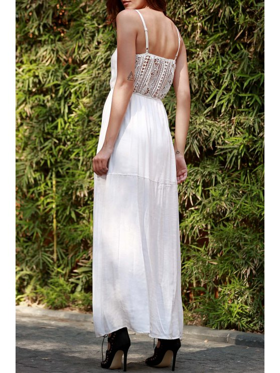 women's Lace Splice Spaghetti Strap Maxi Dress - WHITE S
