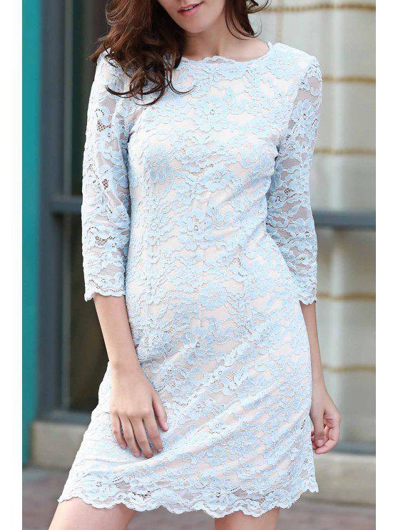 trendy Lace Round Neck 3/4 Sleeve Dress - BLUE L