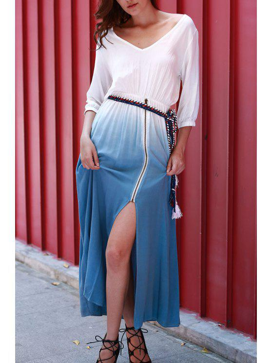 outfit Dip Dye V Neck OndadeMar Maxi Dress - BLUE AND WHITE M