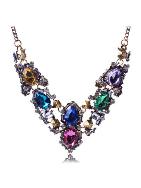 ladies Noble Faux Crystal Alloy Necklace - COLORMIX