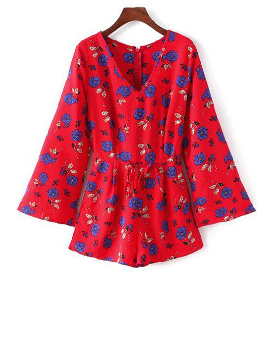 Long Sleeve Drawstring design Playsuit - Rouge M