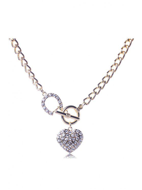 sale Dazzling Rhinestoned Heart Decorated Necklace - GOLDEN