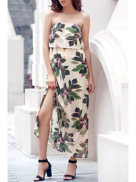 lady Hawaiian Bandeau Leaf Print Flowing Maxi Dress - OFF-WHITE XL