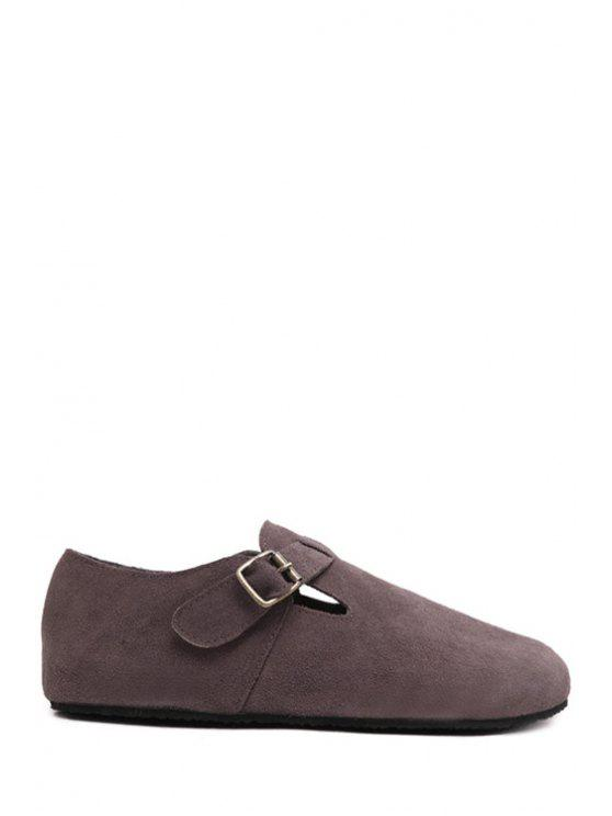 sale Buckle Dark Color Round Toe Flat Shoes - COFFEE 36