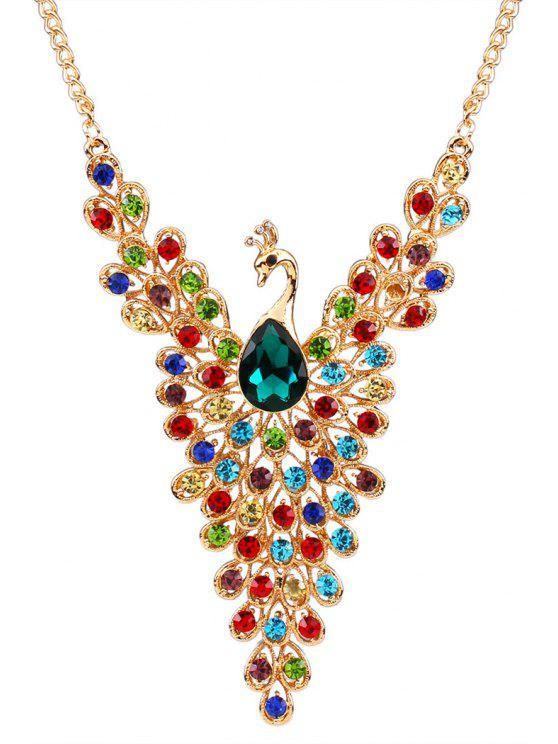 latest Rhinestoned Peacock Necklace - COLORMIX