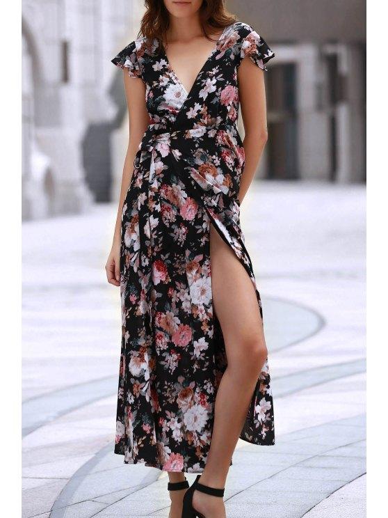 hot Full Floral Lace-Up Chiffon Wrap Dress - COLORMIX XL