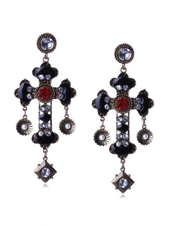 new Pair of Rhinestone Cross Earrings - BLACK