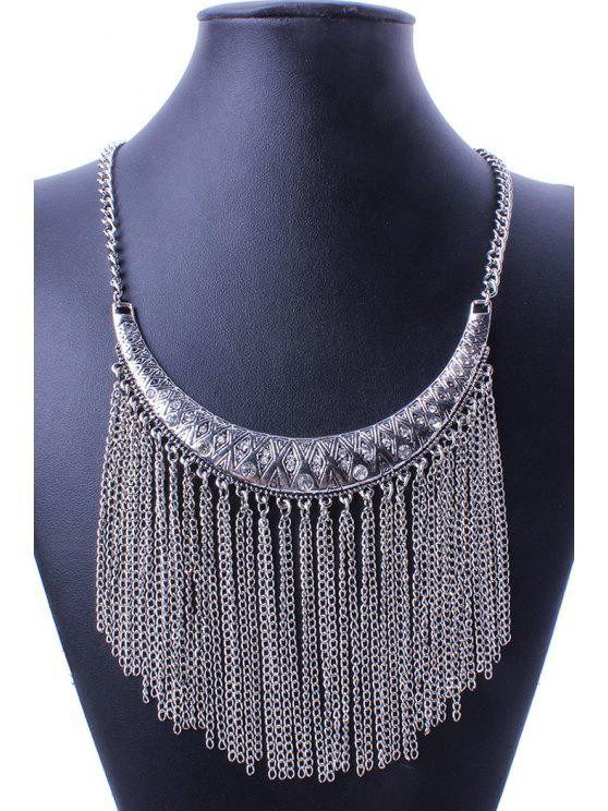 outfit Ethnic Crescent Link Chain Tassel Necklace - SILVER