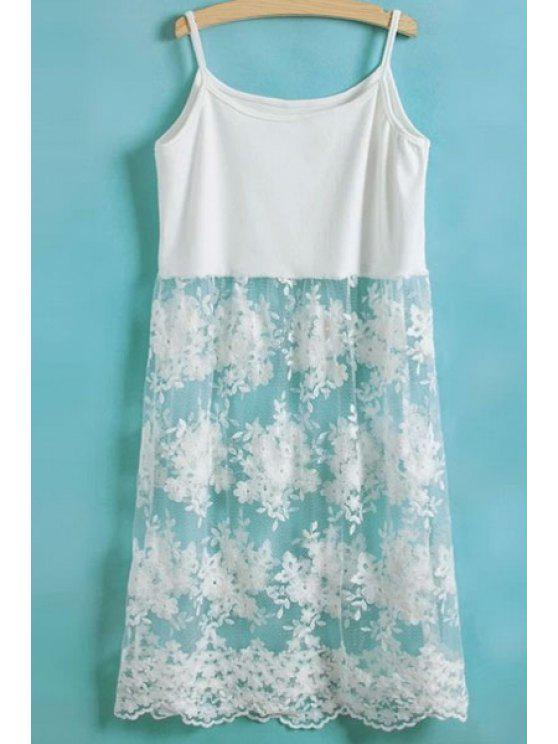 trendy Lace Spliced Spaghetti Straps Dress - WHITE ONE SIZE(FIT SIZE XS TO M)