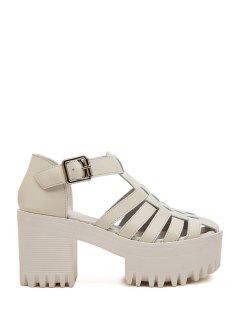 Closed Toe Weaving Platform Sandals - White 38