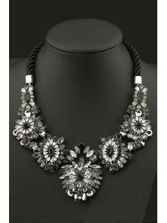 Delicate Floral Faux Crystal Necklace - Black