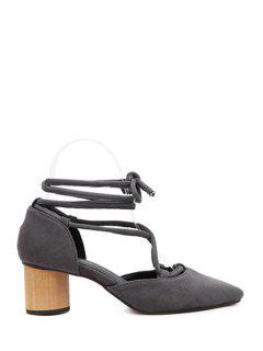 Criss-Cross Flock Pointed Toe Pumps - Gray 39