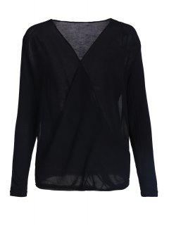 Cross-Over Collar Draped Blouse - Black S
