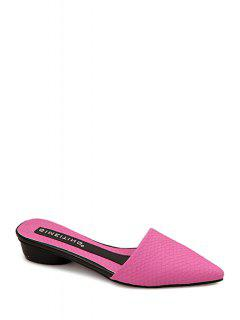 Embossing Pointed Toe Low Heel Slippers - Rose 39