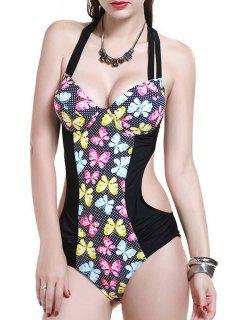 Printed Backless Halter One Piece Swimwear - Black L