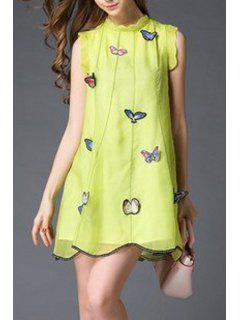 Butterfly Embroidery Stand Neck Sleeveless Dress - Yellow S