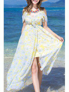 Cut-Out Floral Print Spaghetti Straps Dress - Light Yellow L