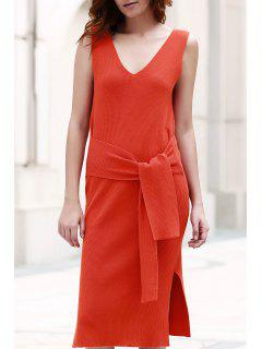 Solid Color V-Neck Sleeveless Lace Up Sweater Dress - Laterite M
