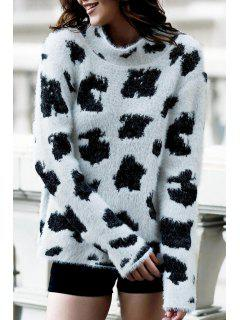 Leopard Print Turtle Neck Long Sleeve Jumper - White And Black