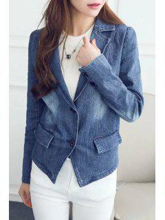 Lapel Bleach Wash Denim Blazer - Bleu Xl