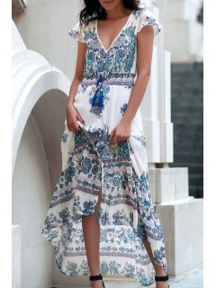 High Slit Plunging Neck Short Sleeve Printed Dress - Blue And White M