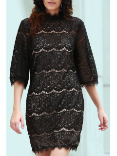 Flare Sleeve Scalloped Lace Bodycon Dress - Black 2xl