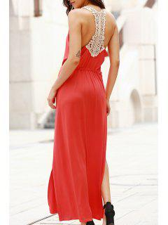 Cut Out Scoop Neck Lace Spliced Maxi Dress - Red L