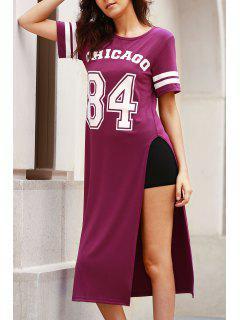High Slit Round Neck Short Sleeve Letter Print Dress - Purple S
