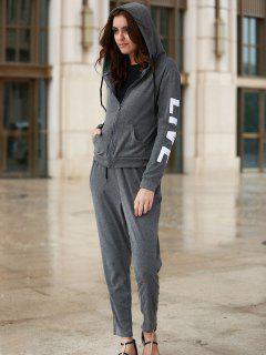 Zip Up Hoodie And Sweatpants - Deep Gray S