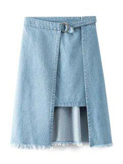 Irregular Hem Frayed Denim Skirt - Blue L