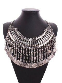 Multi-Layered Alloy Coin Tassel Sweater Chain - Argent