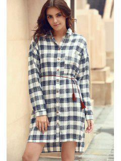 Plaid Shirt Collar Long Sleeve Shirt Dress - L