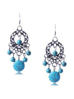 Bohemia Turquoise Round Earrings - Silver