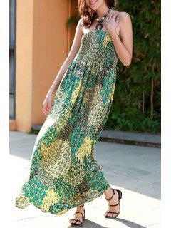 Impresión Verde Cabestro Vestido De Maxi - Verde L