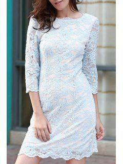 Lace Round Neck 3/4 Sleeve Dress - Blue M