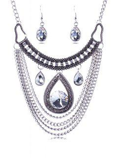 Multi-Layered Faux Crystal Water Drop Necklace And Earrings - Silver