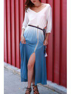 Dip Dye V Neck OndadeMar Maxi Dress - Blue And White Xl