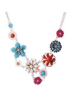 Faux Crystal Floral Pendant Necklace