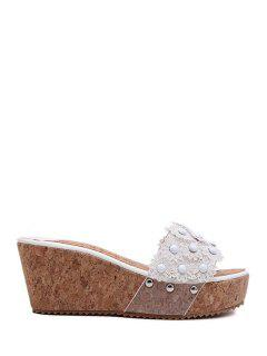 Floral Platform Wedge Heel Slippers - White 38