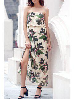 Hawaiian Bandeau Leaf Print Flowing Maxi Dress - Off-white Xl