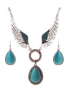 Faux Turquoise Water Drop Wing Necklace And Earrings - Turquoise