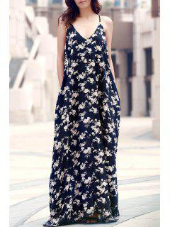 Floral Print Floor-Length Dress - Purplish Blue